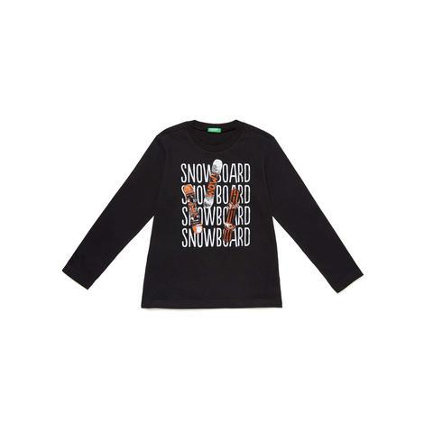 Benetton Çocuk Snowboard Baskılı T-Shirt