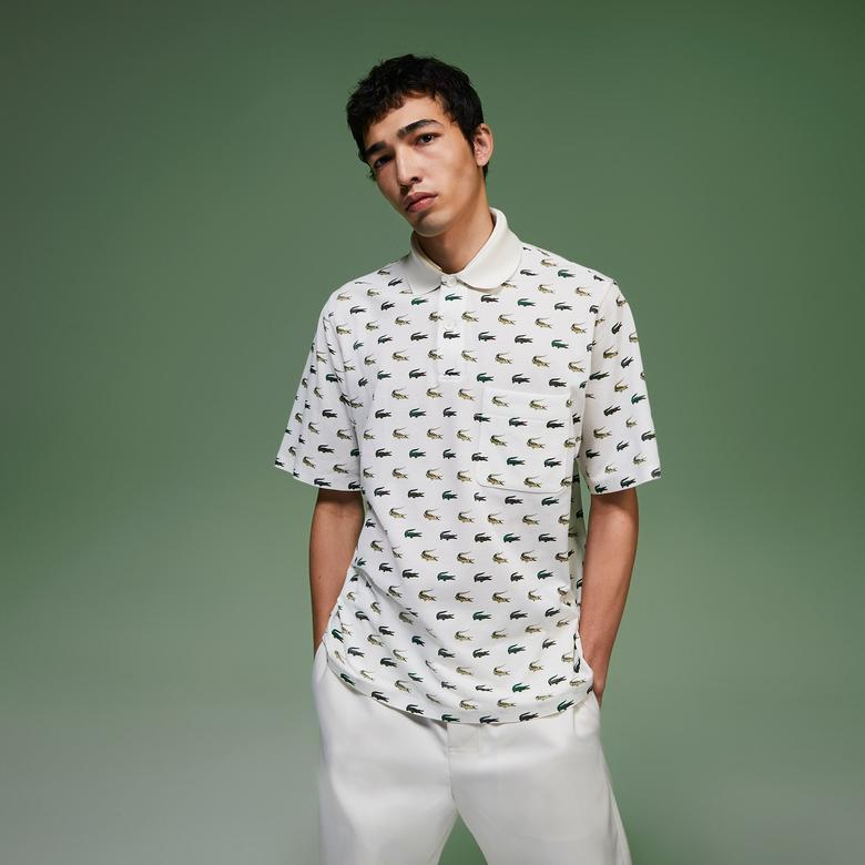Lacoste Fashion Show Erkek Baskılı Beyaz Polo
