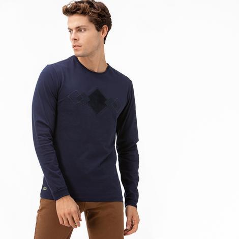 Lacoste Erkek Desenli Lacivert Uzun Kollu T-Shirt