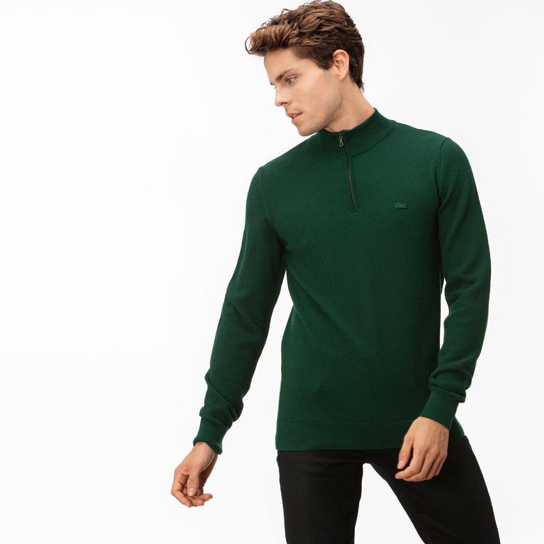 Lacoste Erkek Yaka Fermuarlı Yeşil Triko Kazak