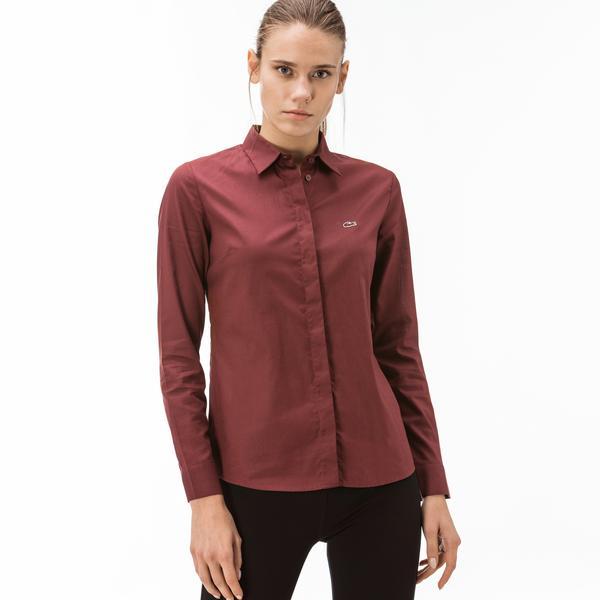 Lacoste Kadın Pamuklu Bordo Gömlek