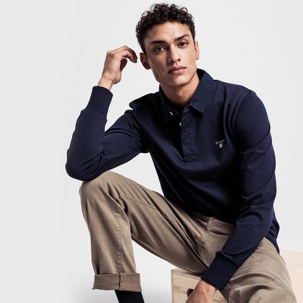 Gant Erkek Lacivert Polo Yaka Sweatshirt