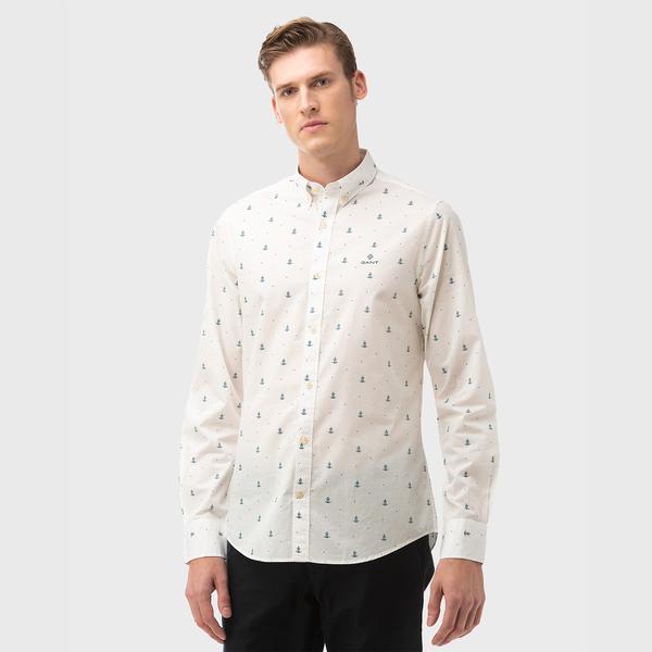 Gant Erkek Krem Slim Fit Gömlek