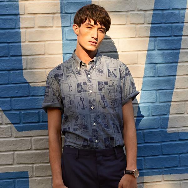 GANT Erkek Mavi Baskılı Gömlek