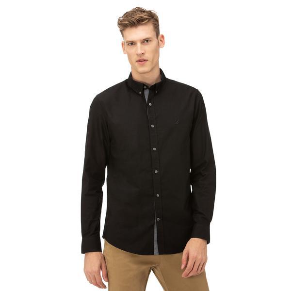 Nautica Erkek Slim Fit Düğmeli Yaka Siyah Gömlek