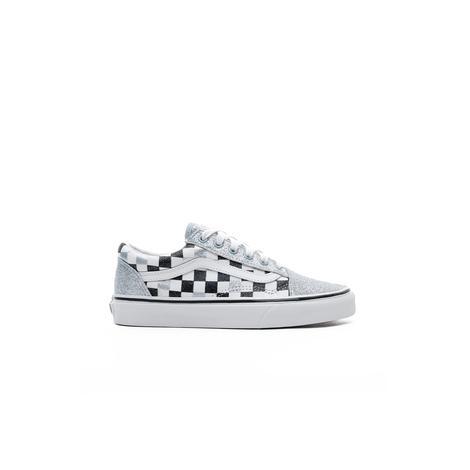 Vans Old Skool Glitter Checkerboard Gümüş - Siyah Çocuk Sneaker