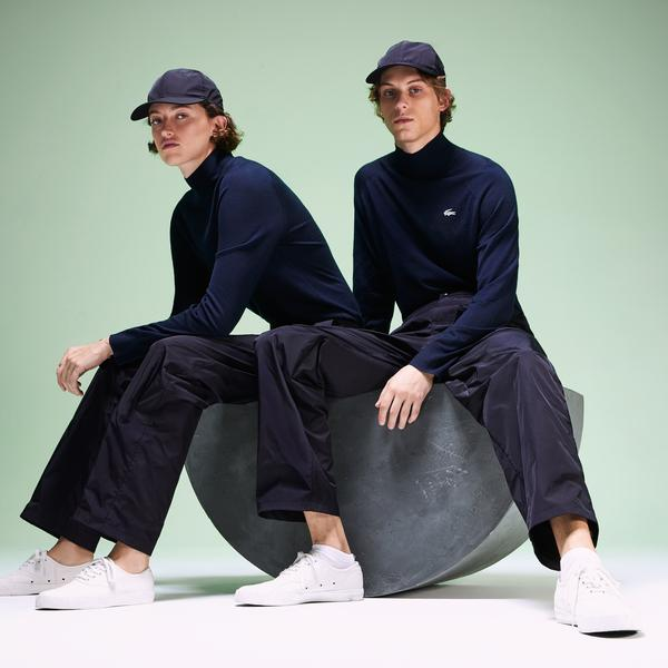 Lacoste Fashion Show Unisex Lacivert Boğazlı Yün Triko Kazak