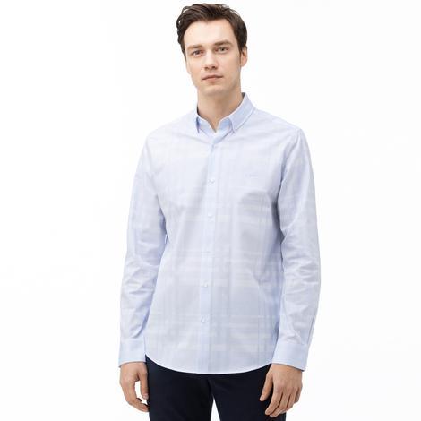 Lacoste Erkek Slim Fit Ekose Desenli Açık Mavi Gömlek
