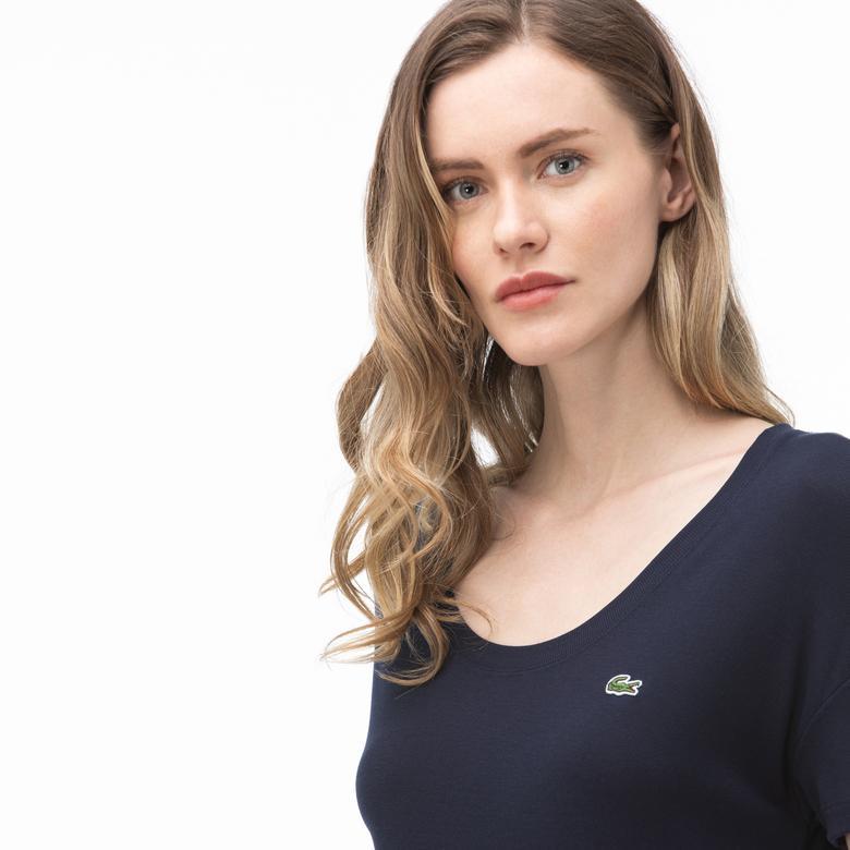 Lacoste Kadın Kayık Yaka Lacivert T-Shirt