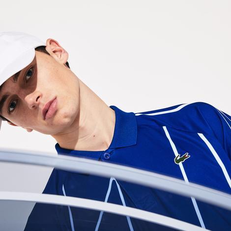 Lacoste Sport Erkek Desenli Saks Mavi - Beyaz Kısa Kollu Polo