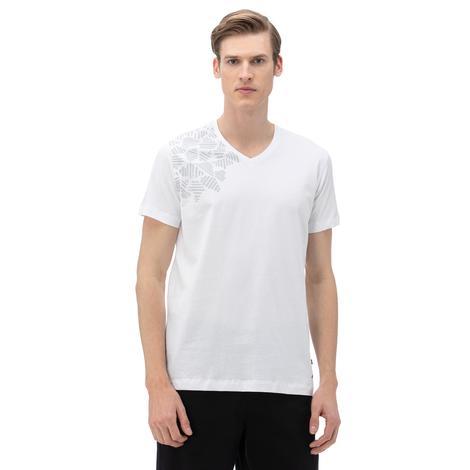 NAUTICA Erkek Beyaz V-Yaka T-Shirt
