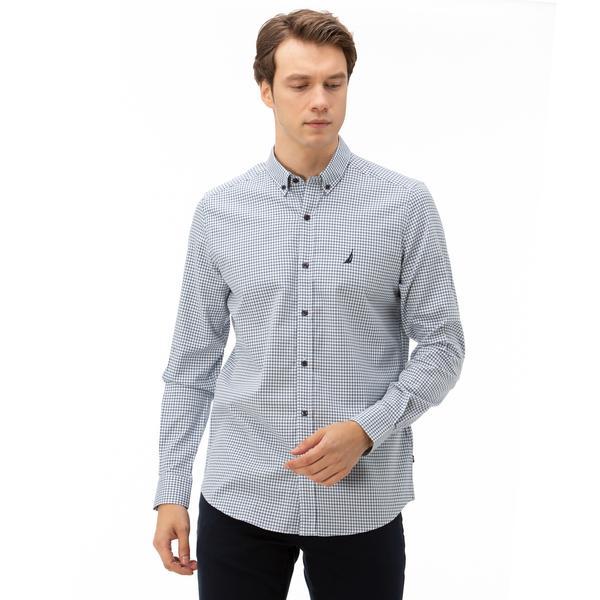 Nautica Erkek Beyaz Slim Fit Kareli Gömlek