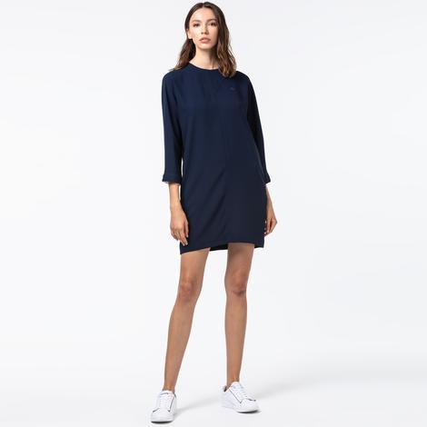 Lacoste Kadın Uzun Kollu Lacivert Elbise