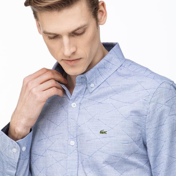 Lacoste Erkek Slim Fit Düğmeli Yaka Desenli Mavi Gömlek