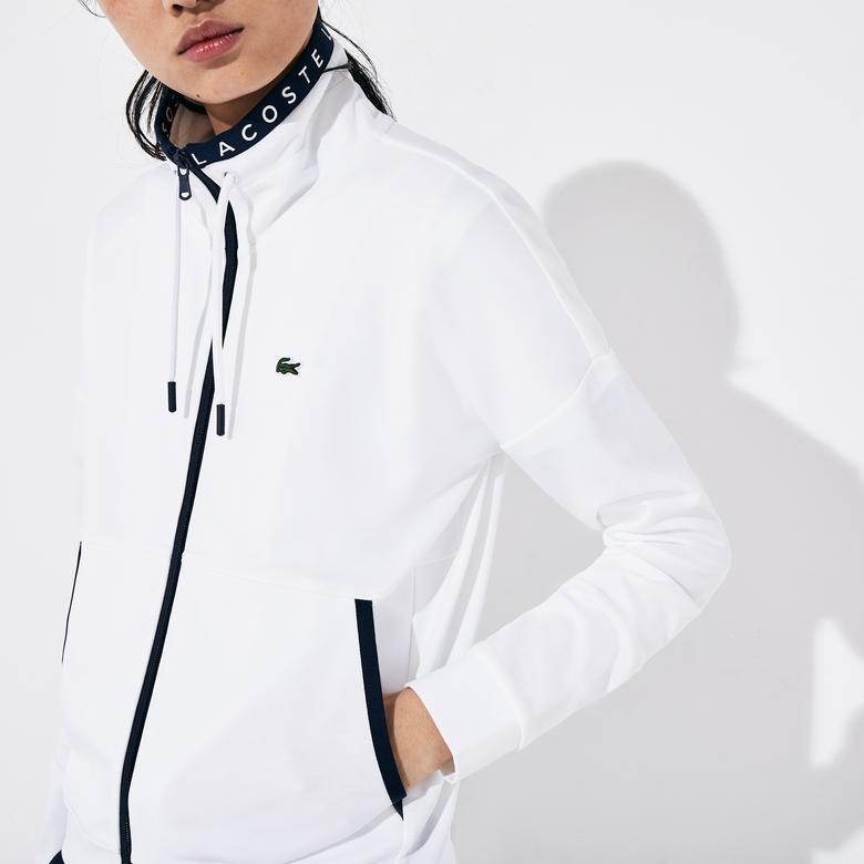 Lacoste Sport Kadın Fermuarlı Beyaz Sweatshirt