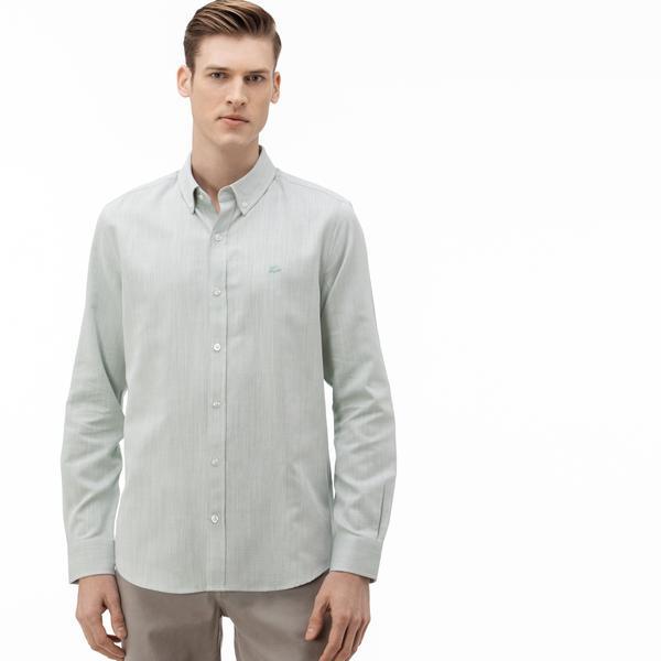 Lacoste Erkek Slim Fit Düğmeli Yaka Açık Yeşil Gömlek