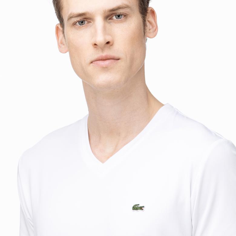 Lacoste Erkek V Yaka Çizgili Beyaz T-Shirt