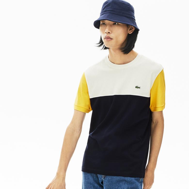 Lacoste Erkek Bisiklet Yaka Blok Desenli Renkli T-Shirt