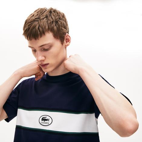 Lacoste Erkek Bisiklet Yaka Baskılı Blok Desenli Lacivert T-Shirt