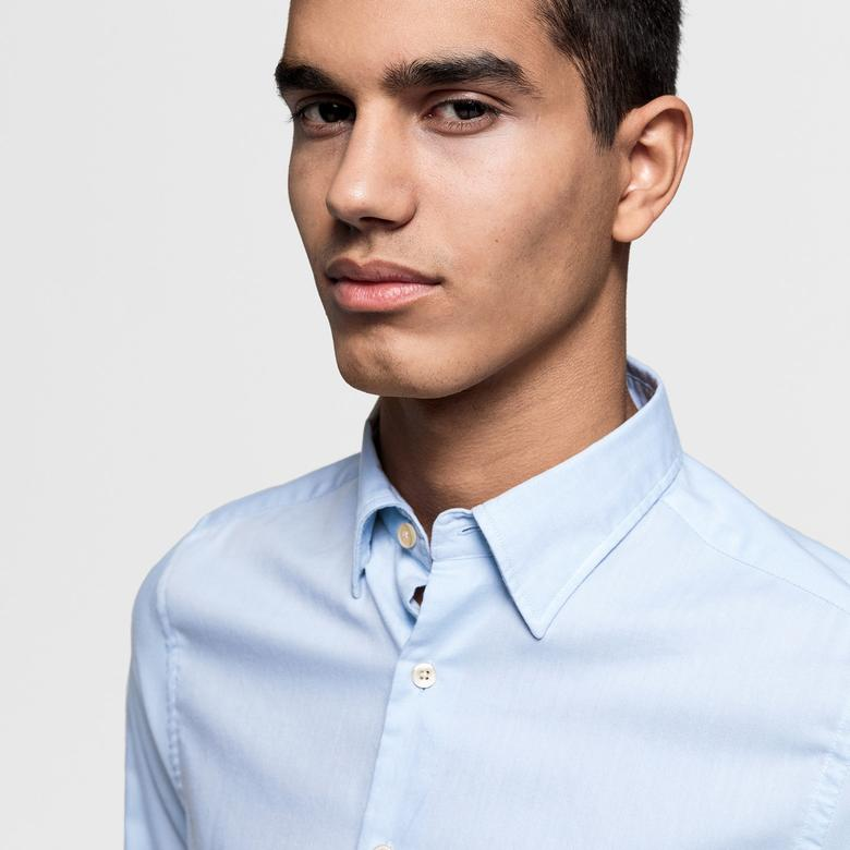 Gant Erkek Açık Mavi Slim Fit Oxford Gömlek