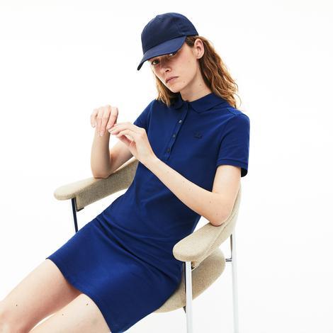 Lacoste Kadın Saks Mavi Kısa Kollu Polo Yaka Elbise