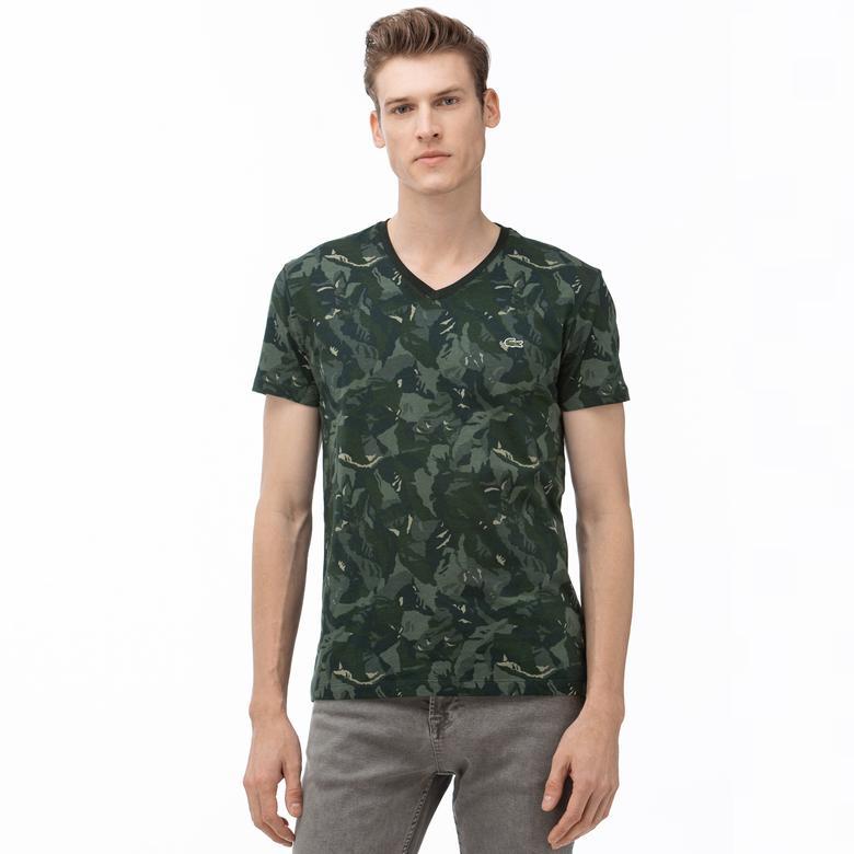Lacoste Erkek V Yaka Desenli Haki T-Shirt