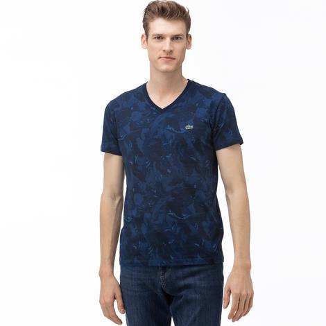 Lacoste Erkek V Yaka Desenli Lacivert T-Shirt