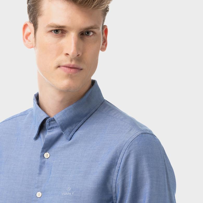 Gant Erkek Mavi Slim Fit Oxford Gömlek
