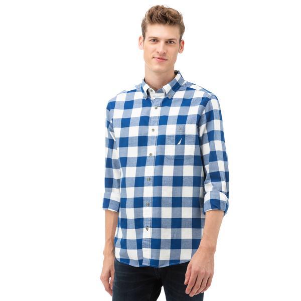 NAUTICA Erkek Mavi Kareli Gömlek