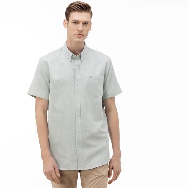 Lacoste Erkek Regular Fit Düğmeli Yaka Kısa Kollu Haki Gömlek