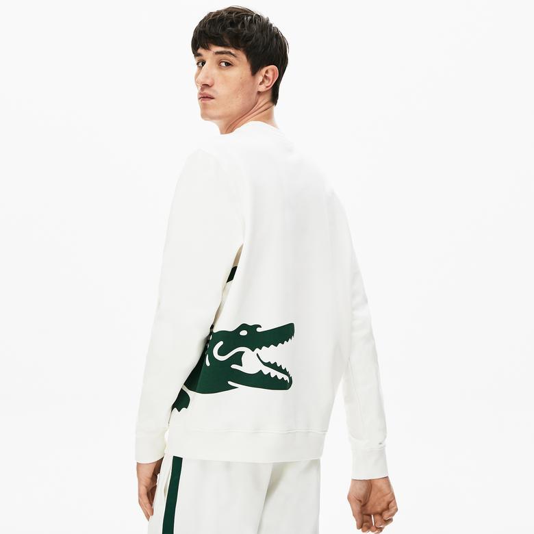 Lacoste Erkek Bisiklet Yaka Timsah Baskılı Beyaz Sweatshirt