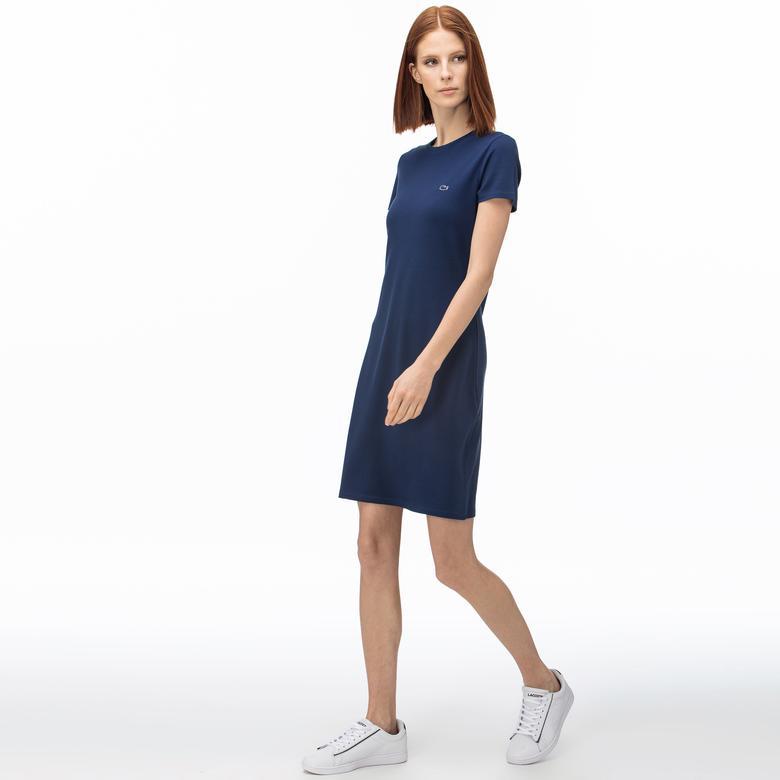 Lacoste Kadın Bisiklet Yaka Saks Mavi Elbise