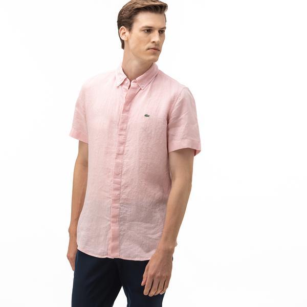 Lacoste Erkek Regular Fit Düğmeli Yaka Keten Kısa Kollu Açık Pembe Gömlek