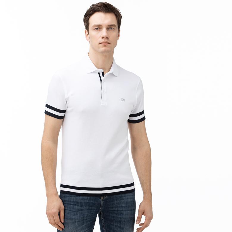 Lacoste Erkek Regular Fit Çizgili Beyaz Kısa Kollu Polo