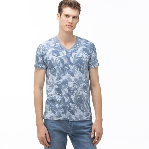 Lacoste Erkek V Yaka Desenli Mavi T-Shirt