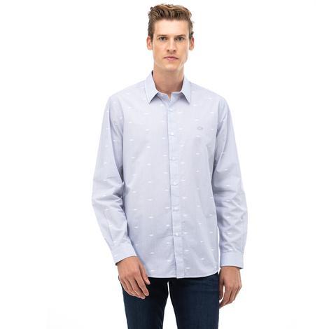 Lacoste Erkek Regular Fit Düğmeli Yaka Timsah Desenli Açık Mavi Gömlek