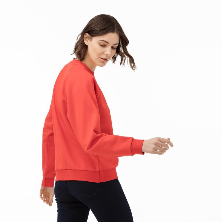 Lacoste Motion Kadın Bisiklet Yaka Timsah Baskılı Kırmızı Sweatshirt