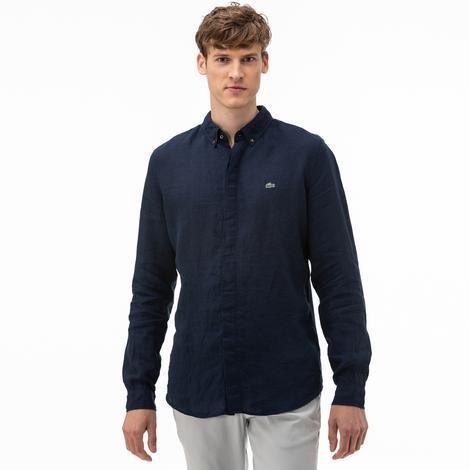 Lacoste Erkek Regular Fit Düğmeli Yaka Lacivert Gömlek