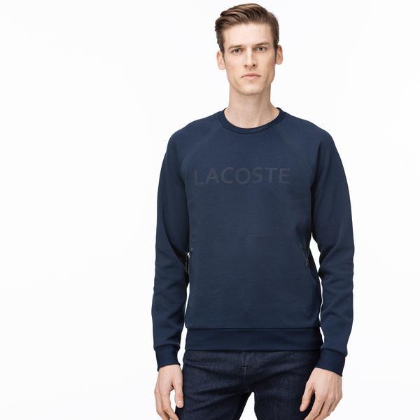 Lacoste Erkek Bisiklet Yaka Baskılı Lacivert Sweatshirt
