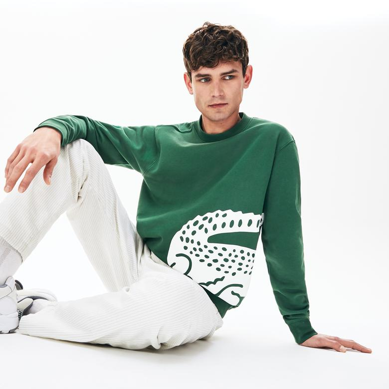 Lacoste Erkek Bisiklet Yaka Timsah Baskılı Yeşil Sweatshirt