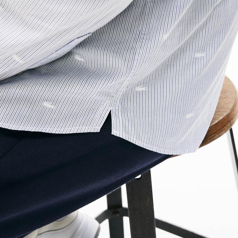 Lacoste Erkek Regular Fit Timsah Desenli Koyu Mavi Gömlek