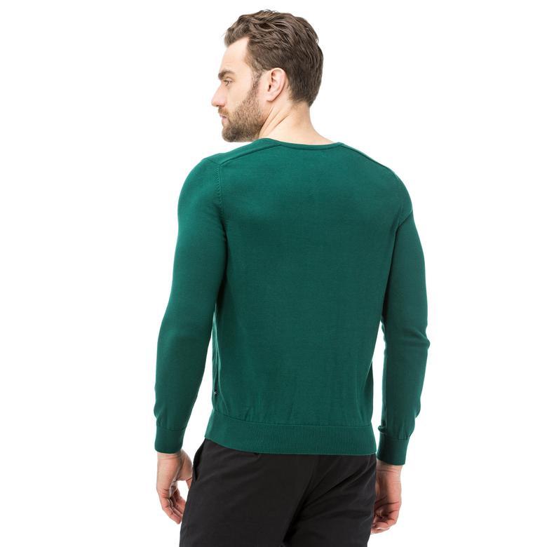 Nautica Uzun Kollu Düz Yeşil Erkek Trıko