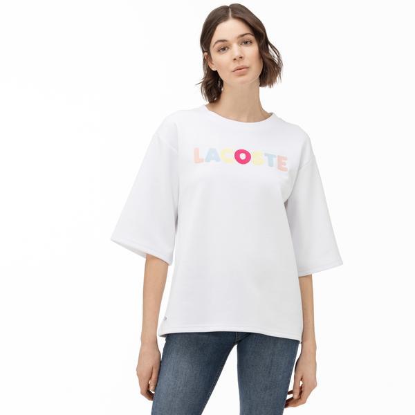 Lacoste Kadın Beyaz Baskılı Truvakar Kollu Sweatshirt
