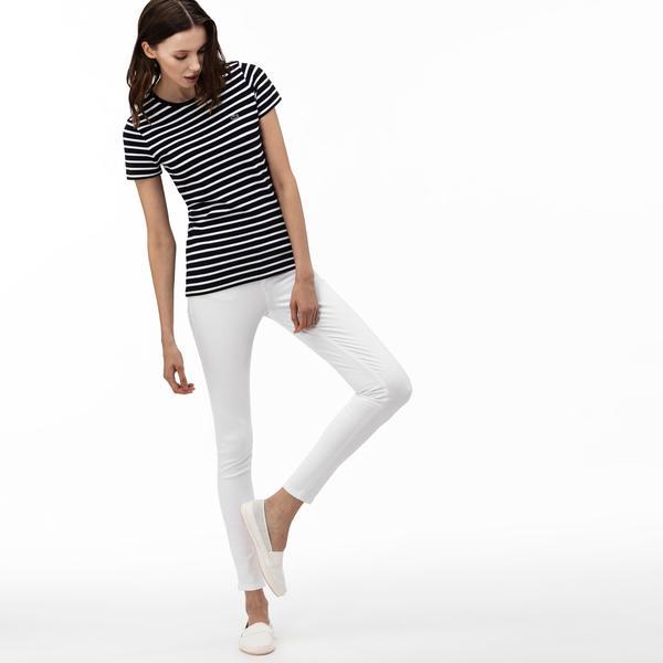 Lacoste Kadın Slim Fit Beyaz Jean