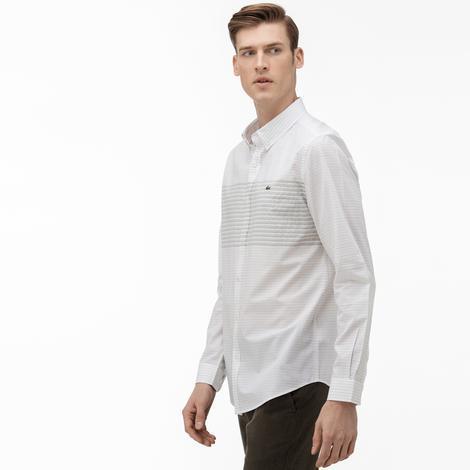 Lacoste Erkek Slim Fit Düğmeli Yaka Çizgili Beyaz Gömlek