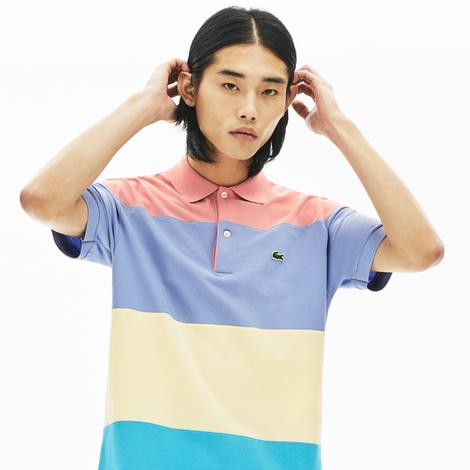 Lacoste Erkek Klasik Fit Blok Desenli Renkli Kısa Kollu Polo