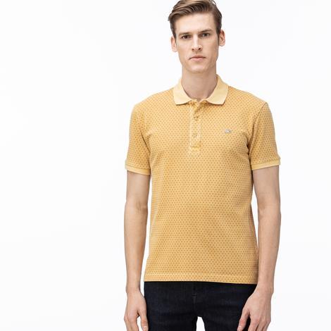 Lacoste Erkek Slim Fit Desenli Açık Sarı Kısa Kollu Polo