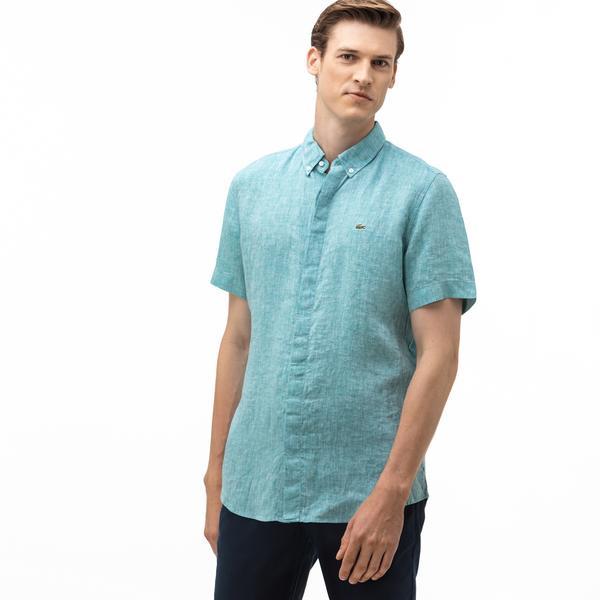 Lacoste Erkek Regular Fit Düğmeli Yaka Keten Kısa Kollu Açık Mavi Gömlek