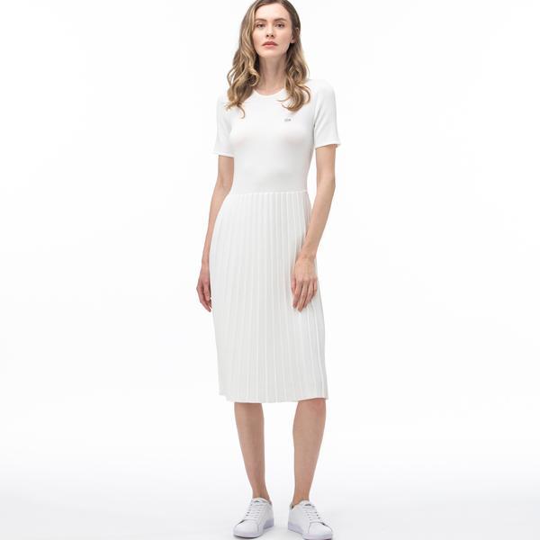 Lacoste Kadın Bisiklet Yaka Kısa Kollu Beyaz Elbise