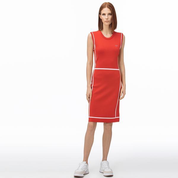 Lacoste Kadın V Yaka Kolsuz Kırmızı Elbise
